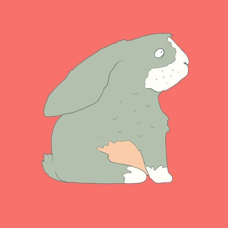 Flat hand drawn icon of a cute gray rabbit. Animal on a pink background.