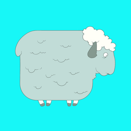 Flat hand drawn icon of a cute gray sheep. Animal on blue background. Ideal to use for avatars, decorations, greeting cards, invitings or web design
