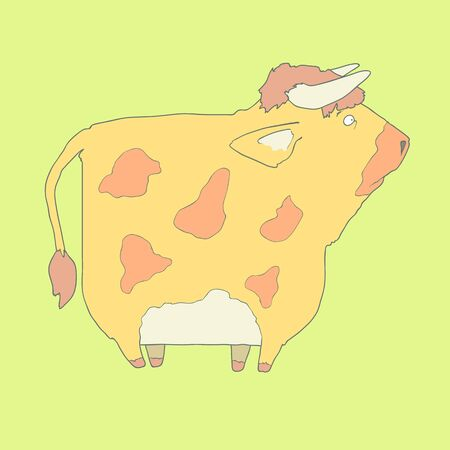 Flat hand drawn icon of a cute yellow cow with spots. Animal on green background. Ideal to use for avatars, decorations, greeting cards, invitings or web design