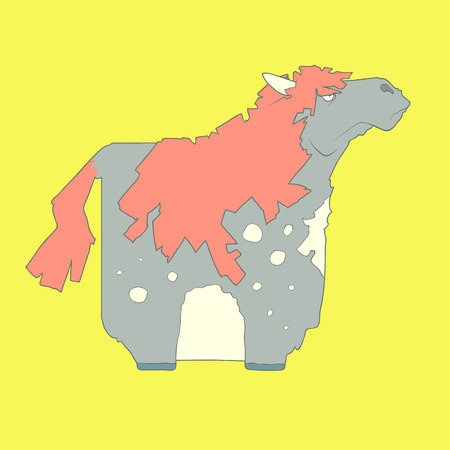 Flat hand drawn icon of a cute horse with spots and red mane. Animal on yellow background. Ideal to use for avatars, decorations, greeting cards, invitings or web design Illustration