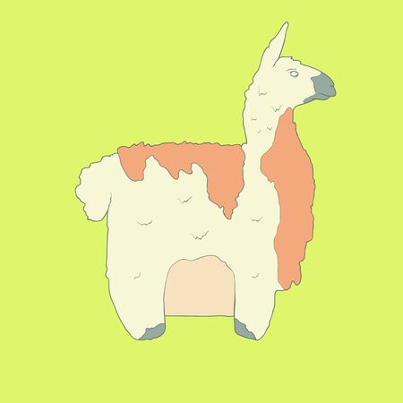 Flat hand drawn icon of a cute lama with orange wool. Animal on yellow background. Ideal to use for avatars, decorations, greeting cards, invitings or web design Illustration