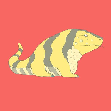 Flat hand drawn icon of a cute golden tegu with black stripes. Reptile. Animal on red background. Ideal to use for avatars, decorations, greeting cards, invitings or web design Illustration