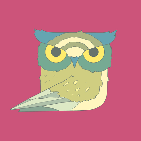 Illustration of hand drawn flat square icon bird owl isolated on purple background.  Ideal to use for avatars, decorations, greeting cards, invitings or web design Illustration