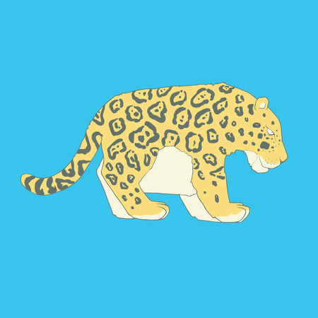 Flat hand drawn icon of a cute jaguar. Animal on blue background. Ideal to use for avatars, decorations, greeting cards, invitings or web design