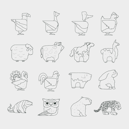 Line design vector animals icon set. Zoo children cartoon characters collection. Wild and farm pets. Ideal to use for avatars, decorations, greeting cards, invitings or web design Illustration