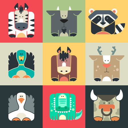 Set flat square icons of a cute animals on color background. Wildeness and Nature logos or icons. Vector illustration collection.