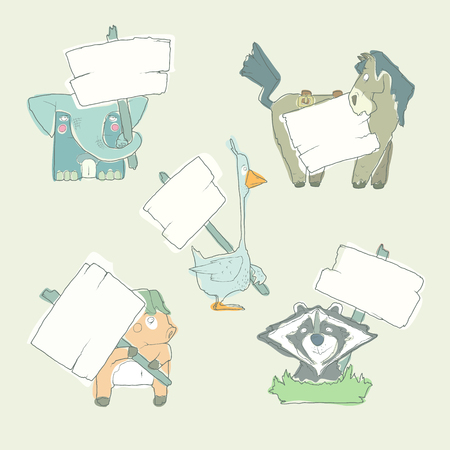 watercolour: Hand-drawn cartoon vector watercolour collection of animals with posters templates. Pig, elephant, racoon, goose and horse. Set of characters for greeting cards and invitations.
