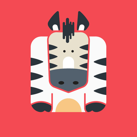 Flat square icon of a cute zebra with black stripes, on red background. Wildeness and Nature logo or icon. Great for avatar.