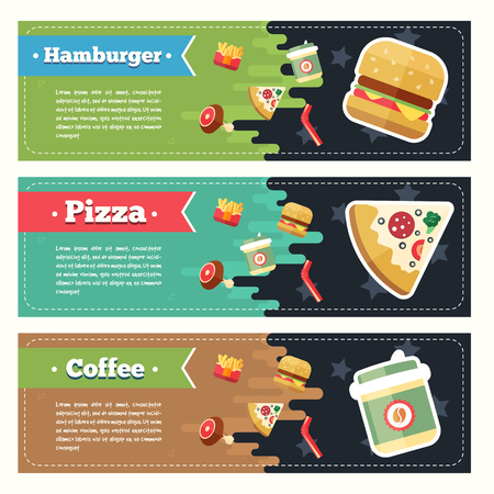 Vector concept fast food flat banner set with text. Fast food flayer, poster. Coffee, pizza, hamburger, french fries and roast chicken.