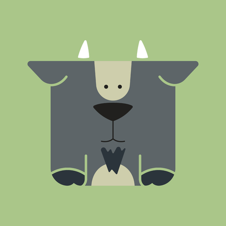 Flat square icon of a cute goat with a black beard, on green background. Wildeness and Nature logo or icon. Great for avatar.