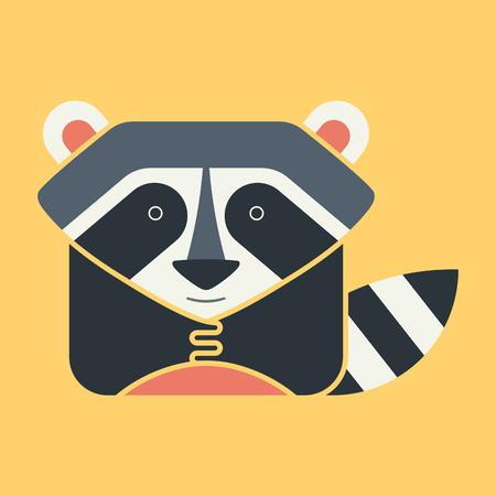 zoo: Flat square icon of a cute raccoon with a striped tail, on yellow background. Wildeness and Nature logo or icon. Great for avatar.