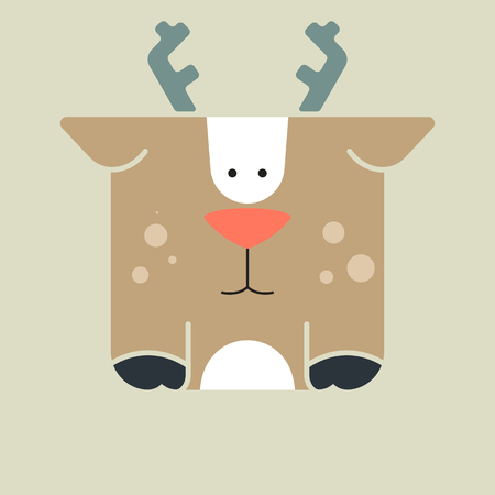 Flat square icon of a cute deer with a cute horns, on gray background.  Illustration