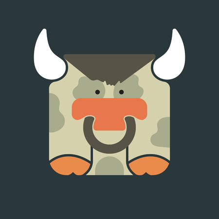 Flat square icon of a cute bull with ring in his nose, on dark green background