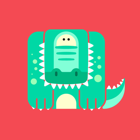Flat square icon of a cute crocodile with teeth, on red background.