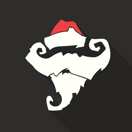 Flat Design Vector Santa Claus Face. Hat and beard. Christmas icons with long shadow. Retro. Great for avatar and greeting cards