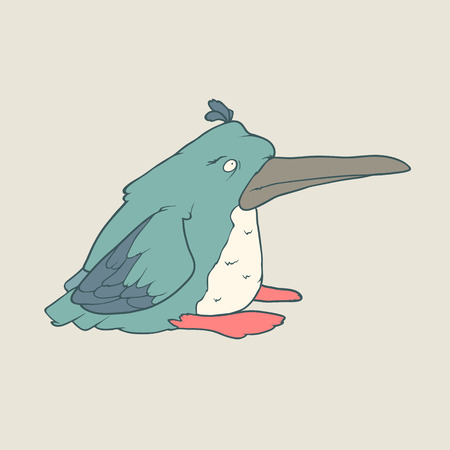 Illustration of hand drawn funny penguin bird. Color Vector cartoon. Concept of the character on flat background.