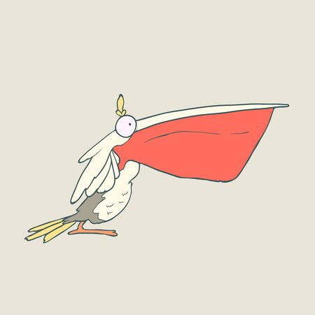 Illustration of hand drawn funny bird pelican with red beak. Color Vector cartoon. Concept of the character on flat background.