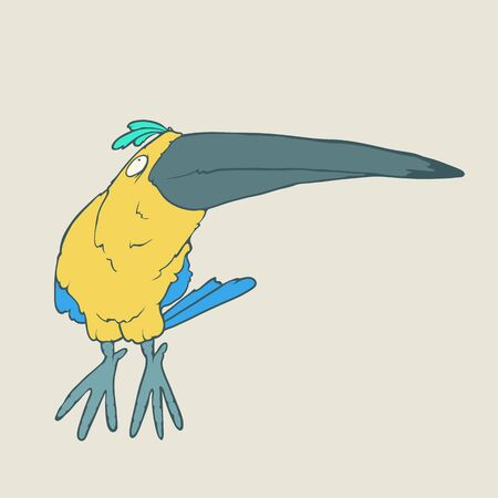 Illustration of hand drawn funny parrot or toucan bird. Color Vector cartoon. Concept of the character on flat background. Illustration