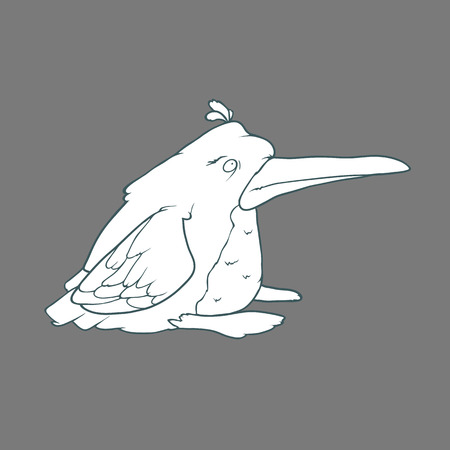 Illustration of  funny penguin bird. Black and white cartoon. Concept of the character on flat background. Illustration