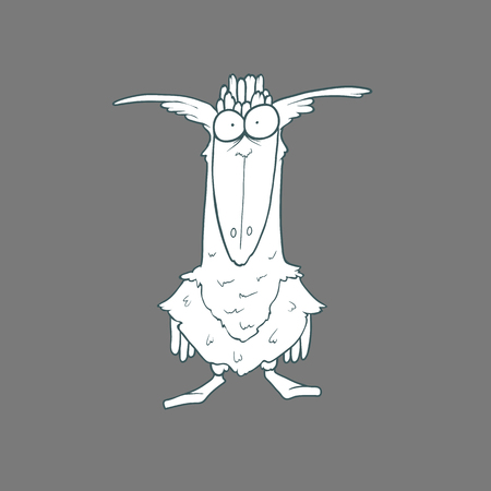 Illustration of  funny bird. Black and white cartoon. Concept of the character on flat background.