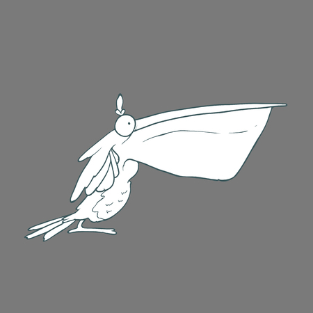 Illustration of  funny bird pelican with big beak. Black and white cartoon. Concept of the character on flat background.