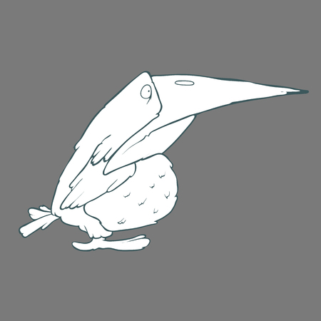 Illustration of  funny crow or raven bird. Black and white cartoon. Concept of the character on flat background. Cartoon childish image in unique style Illustration
