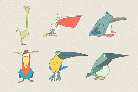 Set of cute cartoon bird isolated on white background. animal illustration. Child fun pattern icon. Pelican, beak, toucan, parrot, crow, raven, penguin, ostrich
