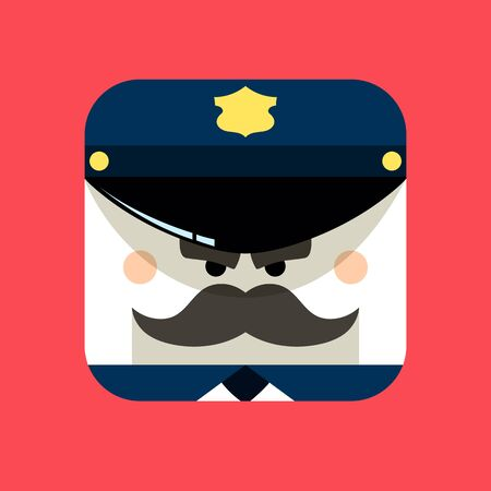 Police officer avatar illustration. Trendy policeman squared icon with shadows in flat style. Colorful and funny uncommon .