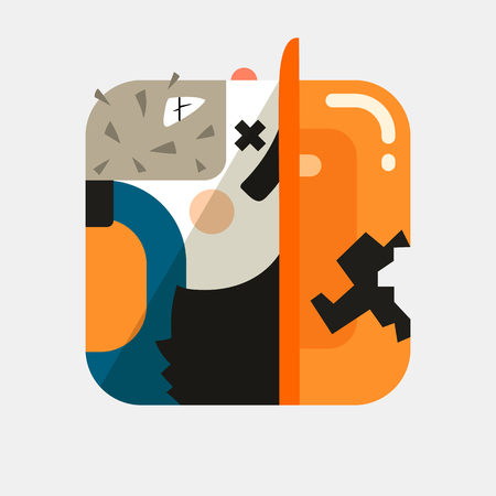 Worker avatar illustration. Trendy squared icon with shadows in flat style. Colorful and funny uncommon .