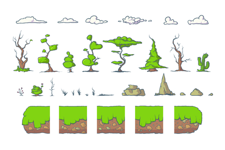 Tile set for Platformer or Adventure Game, Seamless vector ground blocks for games design. Trees, clouds and rocks. The perfect combination with each other. Illustration