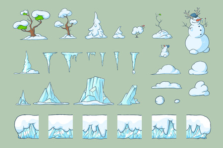 Winter Tile set for Platformer or Adventure Game, Seamless vector ground ice blocks for games design. Snowman, trees, icicles and snowdrifts. The perfect combination with each other.