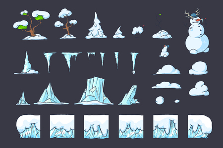 snowdrifts: Winter Tile set for Platformer or Adventure Game, Seamless vector ground ice blocks for games design. Snowman, trees, icicles and snowdrifts. The perfect combination with each other.