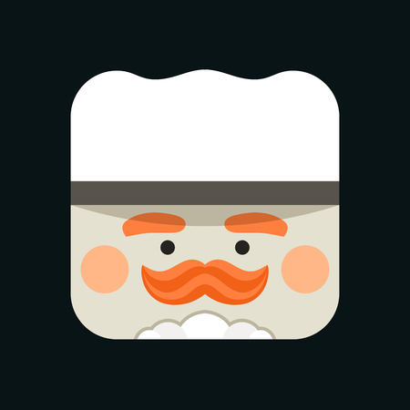 Chef avatar illustration. Trendy chief-cooker squared icon with shadows in flat style. Colorful and funny uncommon vector.