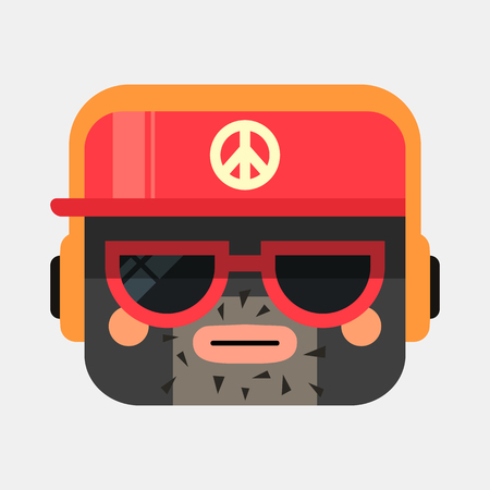 Rapper avatar illustration. Trendy gangster squared icon with shadows in flat style. Colorful and funny uncommon vector. Illustration