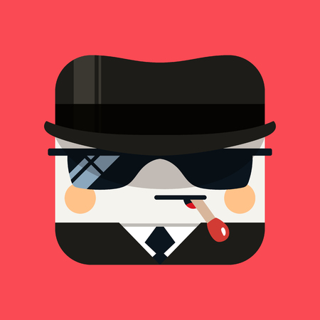 fbi: Spy avatar illustration. Trendy emissary squared icon with shadows in flat style. Colorful and funny uncommon vector.