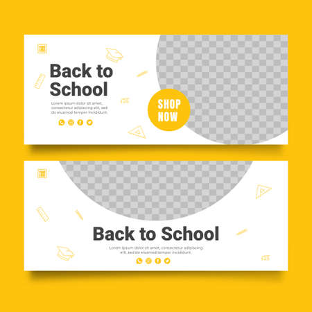 Back to school with discount offer web banner template Vecteurs