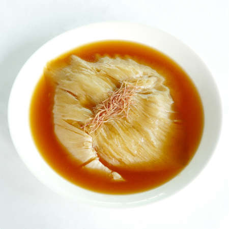 shark fin: chinese food - shark fin soup in white bowl