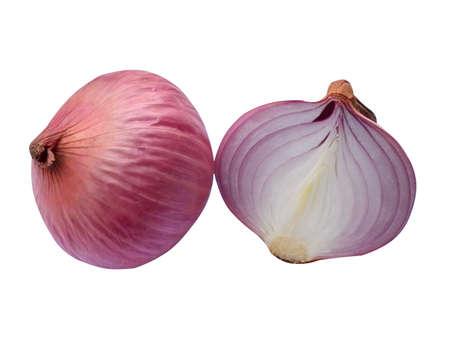 cebolla roja aislada en el fondo blanco - verduras sanas