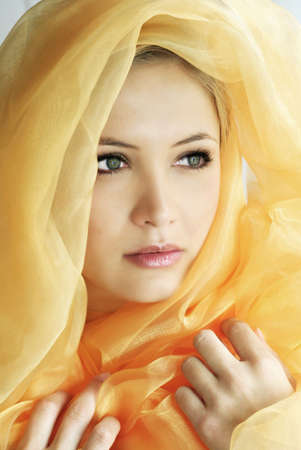 beauty portrait of a young beautiful woman with a shawl Stock Photo - 1455776
