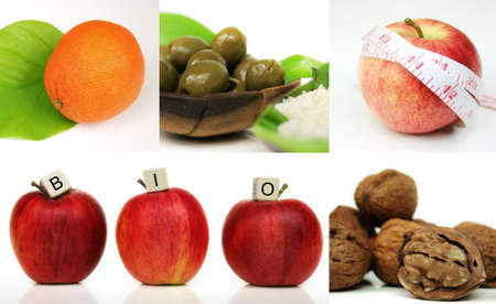 compostion: A compostion of five images, orange, olives, apple and nuts - bio food - health-care