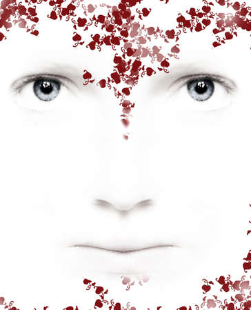 Composite of photograph of a face and an illustration of flowers and hearts in red and pink