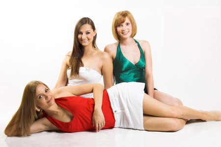 Some beautiful women are smiling on white background Stock Photo - 5011757