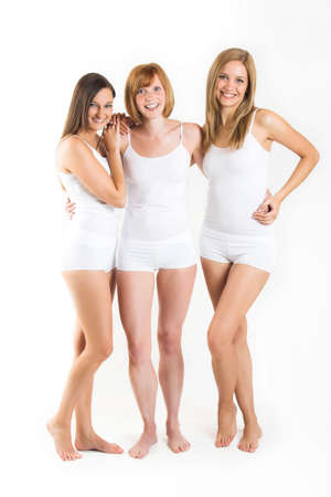 some beautiful women with white underclothes are smiling