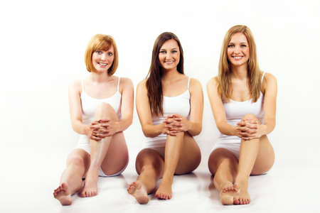 some beautiful women with white underwear are smiling