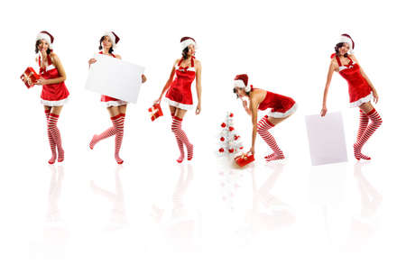 smiling christmas women isolated on white background with a gift and a tree and a card Stock Photo - 5018072