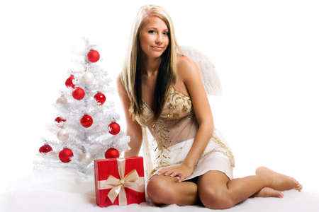 smiling christmas angel on white background with a christmas-tree and a gift Stock Photo - 5017887