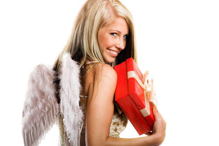 sexy angel: smiling christmas angel on white background with wings and a gift