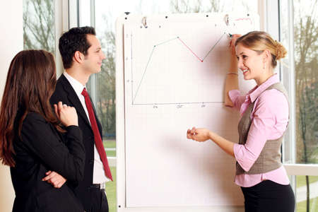 actively: a group of businesspeople and a flipchart Stock Photo
