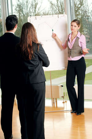 unsuccessfully: a group of businesspeople and a flipchart Stock Photo