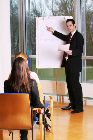 describe: a group of businesspeople and a flipchart Stock Photo